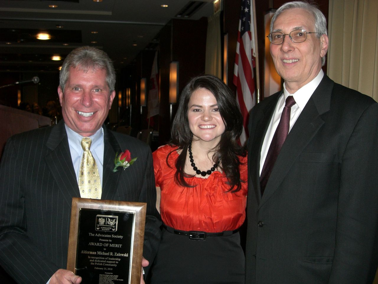 The Honorable Michael Zalewski, Alderman-23rd Ward and Advocates Society Award of Merit Honoree, Megan Kaszubinski Ferraro, newly installed Advocates Society President, and Mark Kupiec, Advocates Society member.