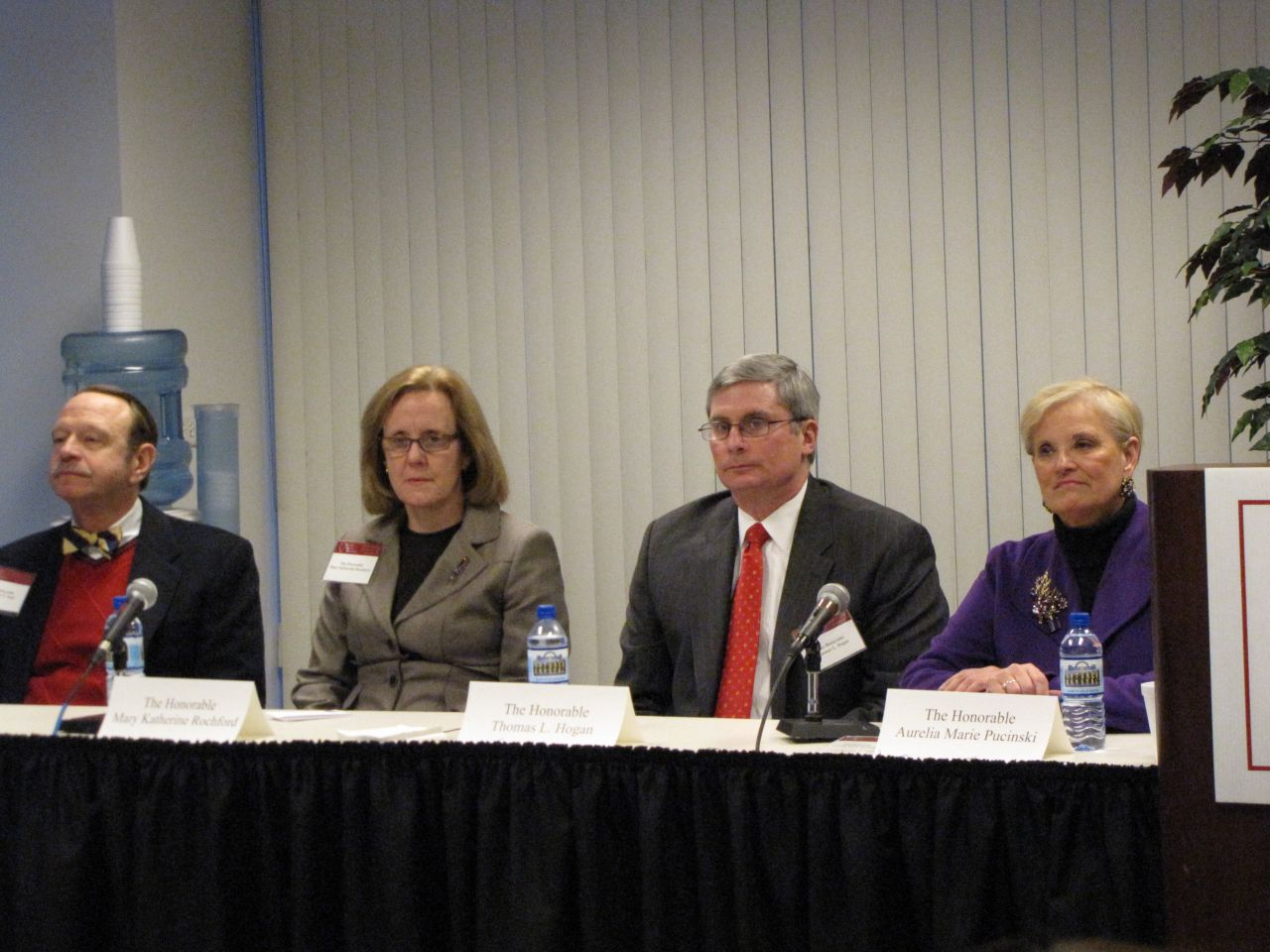 (Click to enlarge) Candidates Sebastian T. Patti, Mary Katherine Rochford, Thomas L. Hogan and Aurelia Marie Pucinski