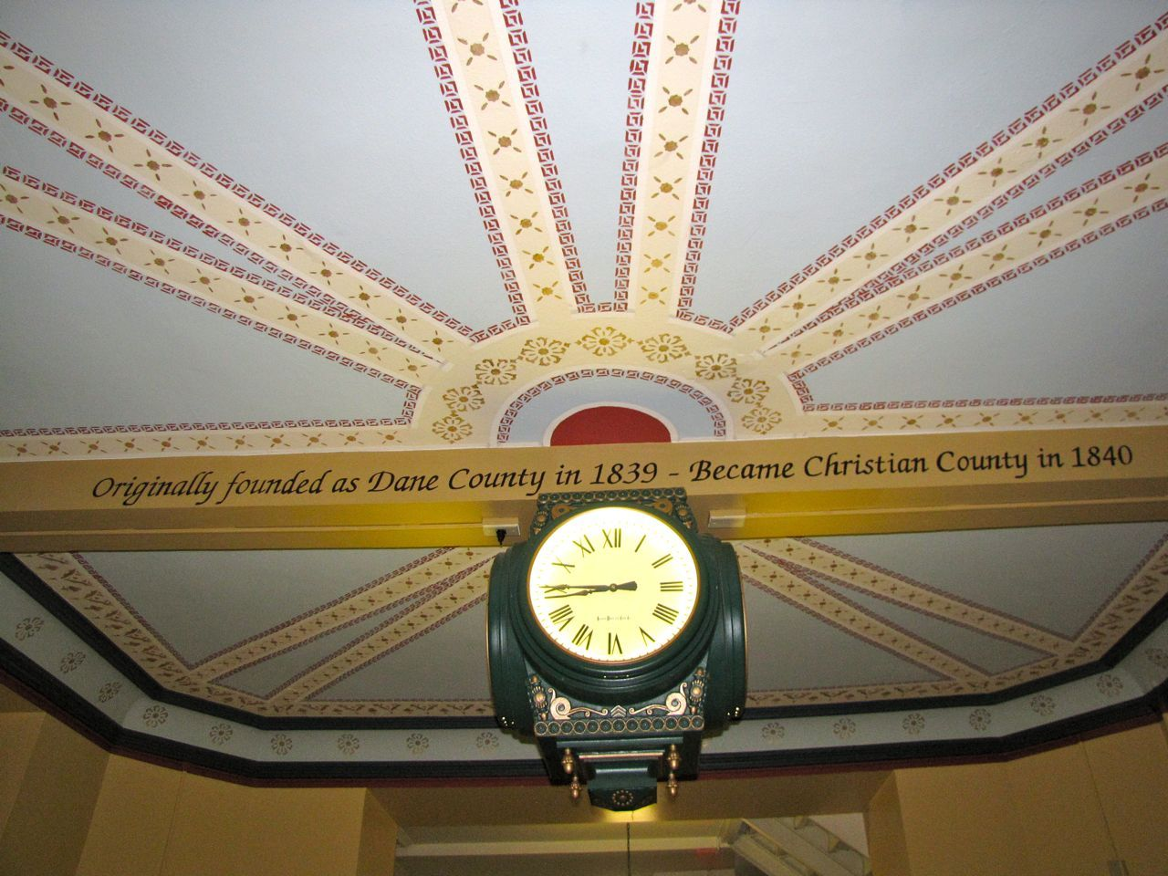 The first-floor clock that is mechanically tied to the one in the courthouse clock tower.