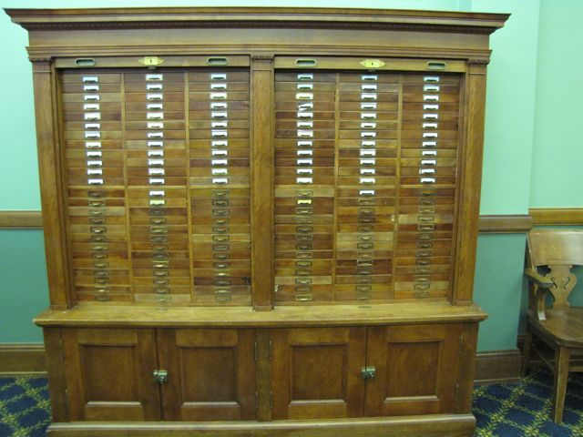 Much of the courthouse furniture is original and still being used - including this courtroom credenza and hutch.