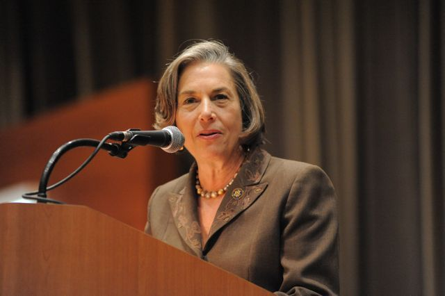 Congresswoman Jan Schakowsky spoke of her own recent travels to Haiti after the disaster.