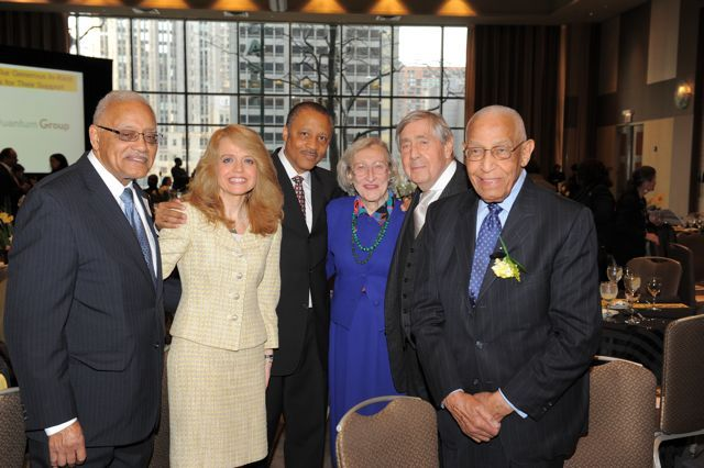 Hon. Everette Braden (Ret.), Michele Jochner, Lionel Jean-Baptiste and Dawn Clark Netsch, greet Honorary Co-Chairs Jerold S. Solovy and Hon. George N. Leighton (Ret).