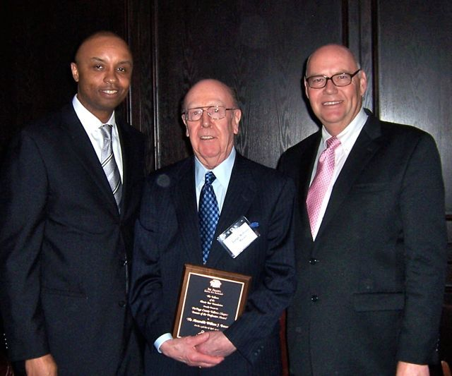 IBF President Vince Cornelius, honoree Judge William Bauer and James Holderman, chief judge of the U.S. District Court for the Northern District of Illinois