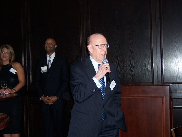 Judge Bauer speaks after accepting his award.