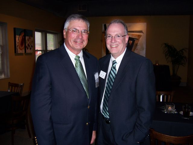 ISBA 3rd Vice President John Thies (right) and DeKalb attorney Charlie Brown