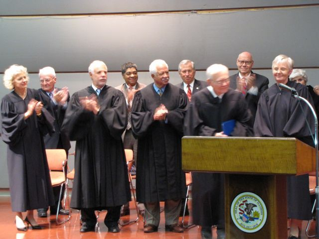 Click to enlarge: Justice Their (far right) with new colleagues (from left) Anne Burke, Robert Thomas and Charles Freeman.