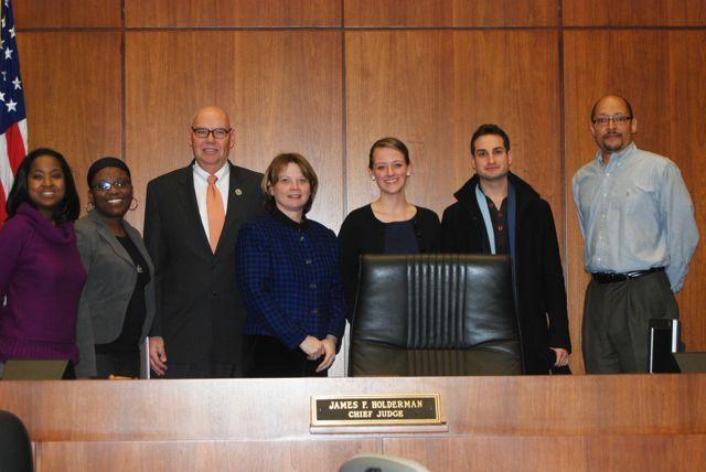 Chief Judge Holderman with Mock Trial volunteers