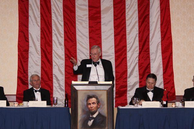 ISBA President John O'Brien addresses the Lincoln Memorial Banquet on Feb. 12 in Peoria. Transportation Secretary Ray LaHood was the keynote speaker.