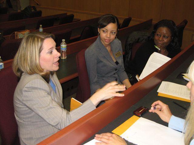 NIU College of Law students prepare a presentation