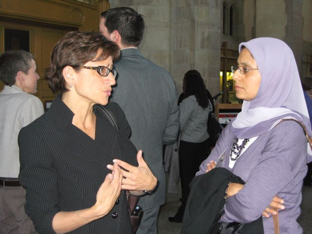 NIU College of Law Dean Jennifer Rosato speaks with Amina A. Saeed, Vice-Chair of the Standing Committee on Racial & Ethnic Minorities and the Law.