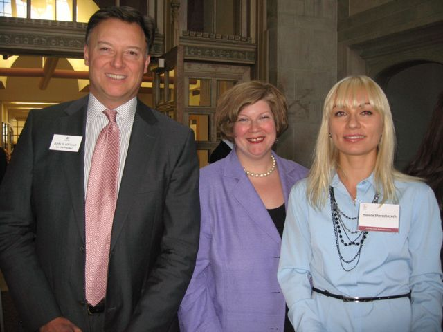 ISBA 2nd Vice President John Locallo, Annemarie Kill and Monica Shereshovech