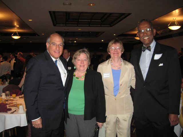 ISBA President-elect Mark Hassakis, Mary Ann Hatch, Lois Wood, executive director of Land of Lincoln Legal Assistance Foundation, and Circuit Judge Milton Wharton.