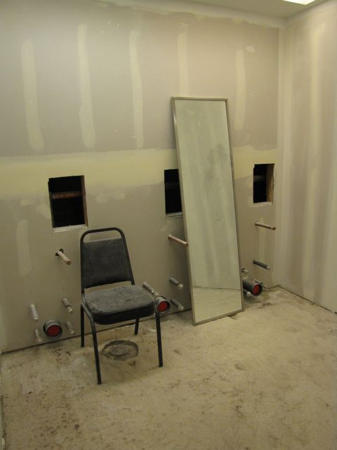 The women's room is still a work in progress.