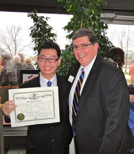 ISBA 3rd Vice President Richard D. Felice and new admittee Matthew Chan