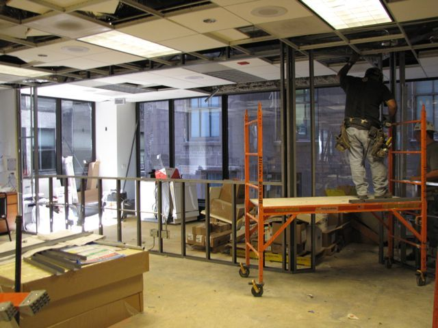 The CLE studio is beginning to take shape at the west side of the training room.