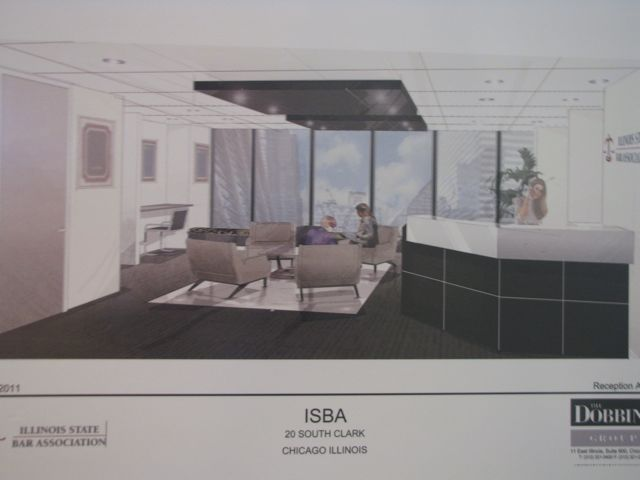 Artist's rendering of the Chicago office lobby