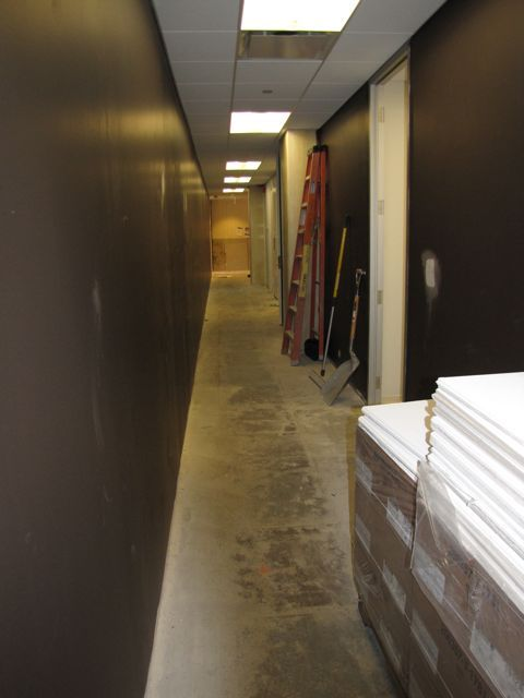 The walls of the hallway on the ISBA side of the floor have been painted.