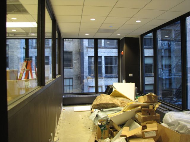 Construction continues on the interior of the CLE studio.