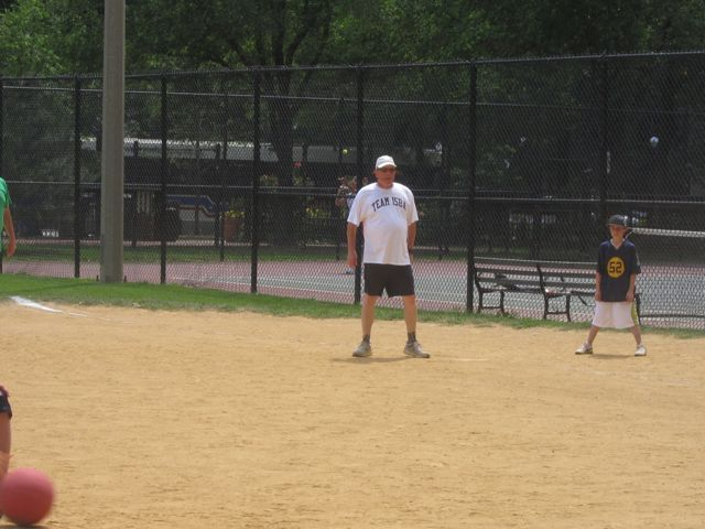 ISBA Board member Jim McCluskey got the team's first hit.