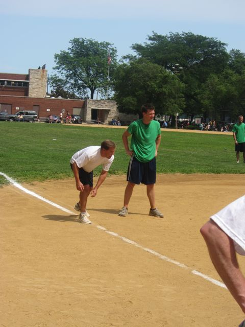 John Nisivaco on 3rd base before scoring the ISBA's only run