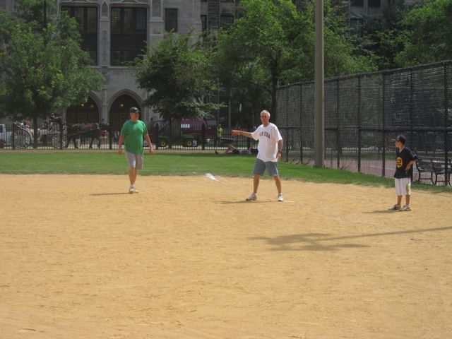 ISBA Board member Judge Steve Pacey on 1st base after driving in the ISBA's only run.