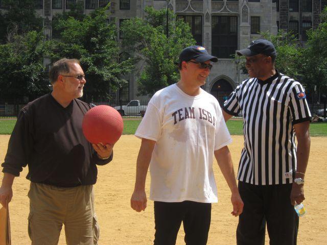 ISBA Executive Director Bob Craghead, ISBA President John Locallo and new ISBA Assembly member and game referee Judge Leonard Murray