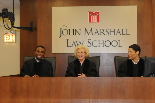 The students made their final Moot Court argument in front of (playing the part of Appellate Justices): teacher Tyreese Foreman, Illinois Supreme Court Justice Anne Burke and teacher Phillip Rutherford