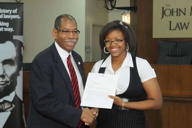 John Marshall Dean Rory Smith with Moot Court finalist Nia Gipson