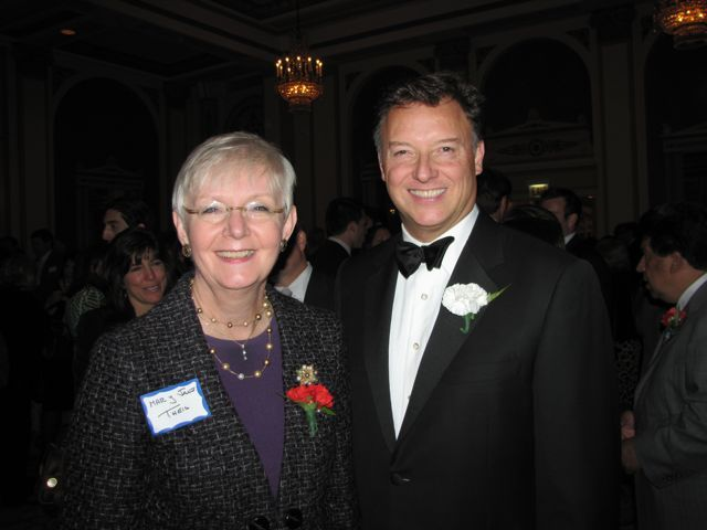 Illinois Supreme Court Justice Mary Jane Theis and ISBA President John G. Locallo
