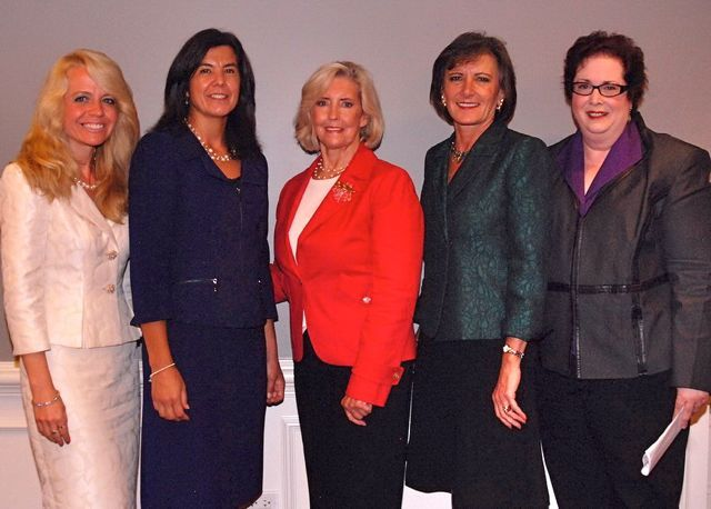 """Michele Jochner, the Network's """"Women of Influence""""  -  Cook County State's Attorney Anita Alvarez, Lilly Ledbetter, Illinois Department of Healthcare and Family Services Director Julie Hamos, and Carol McGuire, event co-chair."""