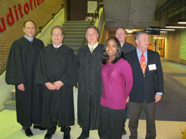 Mock Trial judges: Michael Chmiel, John Coady, Michael Robinson, Kenya Jenkins-Wright, Stephen Iden and John Taylor.
