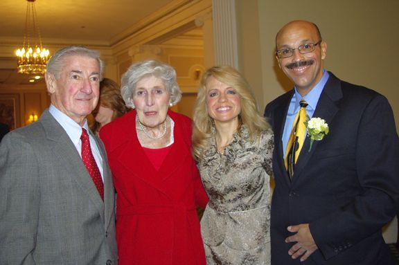Hon. Charles Kocoras, Hon. Mary Ann G. McMorrow, Chicago Alumni Chapter Executive Board Chair Michele M. Jochner, and Chicago Alumni Chapter Justice Pierre W. Priestley.