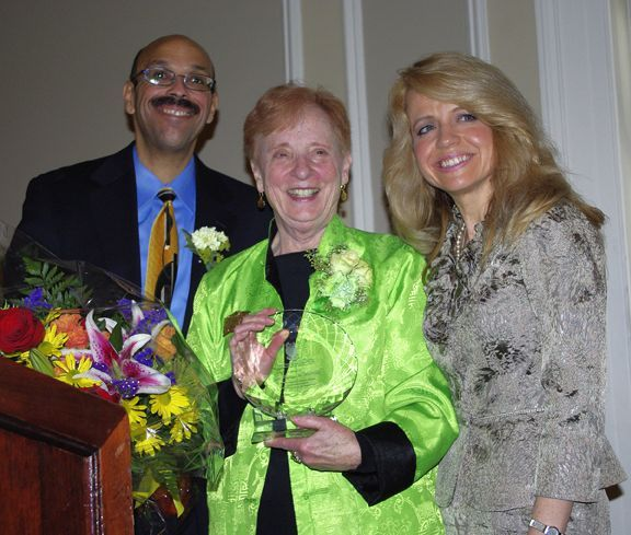 Former ISBA Board member and retired Judge Sheila M. Murphy is presented with the award for her career of community service, justice and advocacy for human rights by Chicago Alumni Chapter Justice Pierre Priestley and Executive Board Chair Michele Jochner