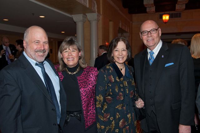 Dr. Robert Sufit, ISBA 3rd Vice President Paula H. Holderman, Judge Diane Wood of the United States Court of Appeals for the Seventh Circuit, and Chief Judge Holderman
