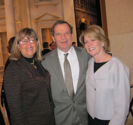 ISBA 3rd Vice President Paula Hudson Holderman enjoys the reception with Senate President John Cullerton and his wife, Pam.