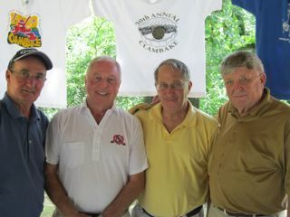 Golden foursome: Delbert Lyle of Wheaton, Dave Murray of Sterling, William Snively of Rockford, and Phil Nye of Rochelle played in their 50th consecutive WCBA Clambake July 29th.