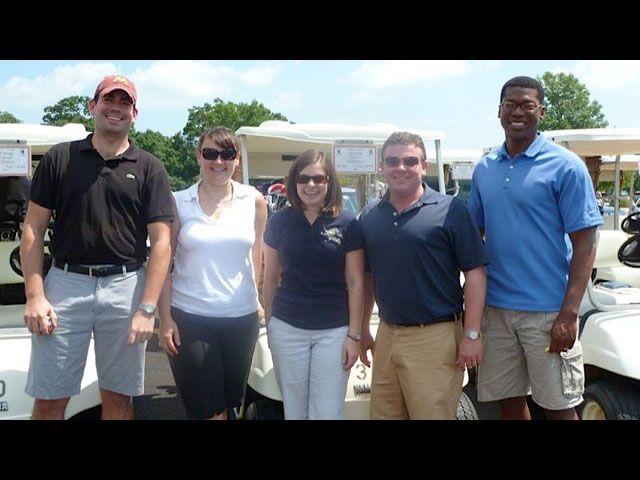 Golf Outing Co-chair Brett Swanson, YLD Chair Heather Fritsch, YLD Vice-Chair Meghan O'Brien, Golf Outing Co-chair Jerry Napleton and YLD Secretary Jean Kenol