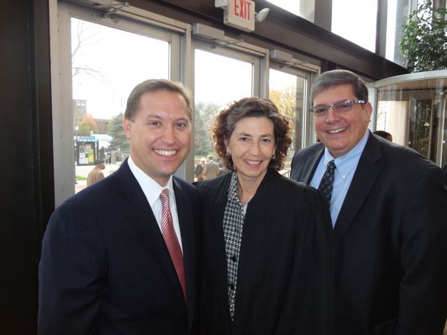 ISBA Secretary John Nisivaco, Appellate Justice Ann Jorgensen and ISBA 2nd Vice President Richard D. Felice
