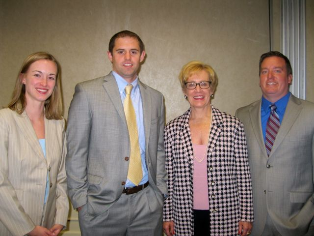 New admittees Christa Wittenberg and Colby Hathaway, speaker Patricia Bobb and new admittee Andrew Doyle.