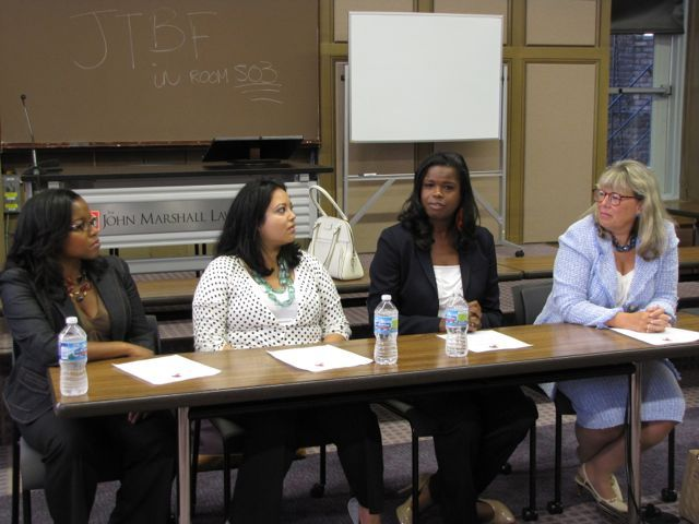 The Women in the Law panel consisted of (left to right) Tiffanie Powel of Tiffanie B. Powell and Associates, Nubia Willhem and the Legal Assistance Foundation, Kimberly Foxx of the Cook County State's Attorney's Office and ISBA President-elect Paula H. Holderman of Winston & Strawn.