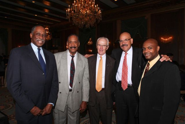Honoree Judge William H. Hooks (second from right) is congratulated by Hon. Leonard M. Murray of the Circuit Court of Cook County, Deputy Sheriff Walter Hudson, Attorney John Lowrey, and Hon. Carl Walker, Circuit Court of Cook County.