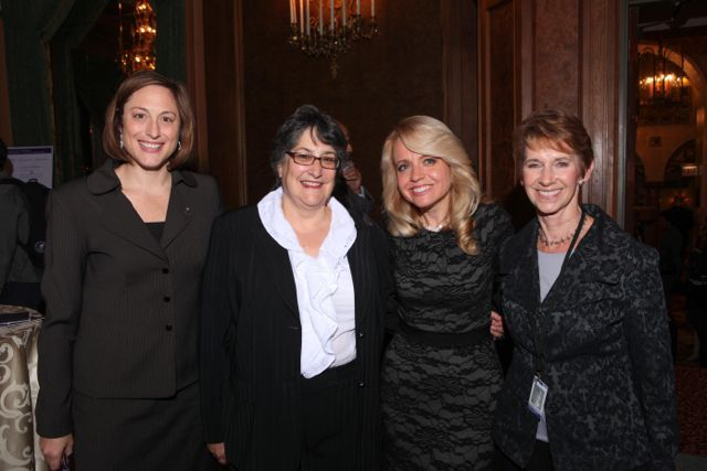 Michele Jochner (second from right) visits with Erin Kelly, Sharon Ballin  and Sharon Eiseman.