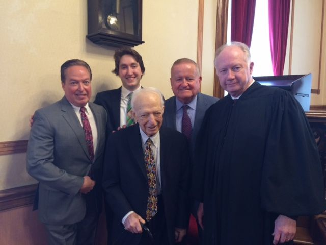ISBA member Patrick Barry, his son, new admittee Colin Barry, former 3rd District Appellate Justice Tobias Barry, ISBA 2nd Vice President Judge Russell W. Hartigan and Illinois Supreme Court Justice Thomas Kilbride.
