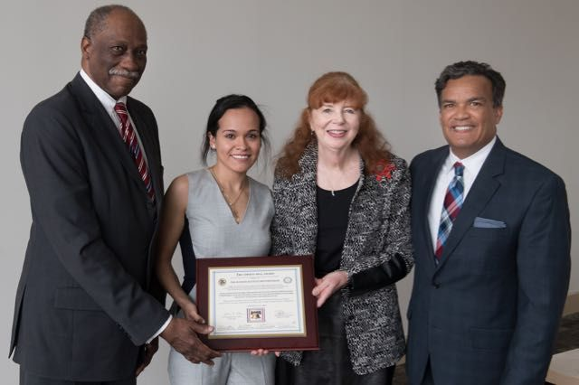From left: Cook County Circuit Court Judge Leonard Murray, Norma Gomez, Lake County JusticeCorps Fellow, Judge Patricia Golden (Ret.), Chair of the Illinois JusticeCorps Steering Committee and Lake County Chief Judge Jorge Ortiz