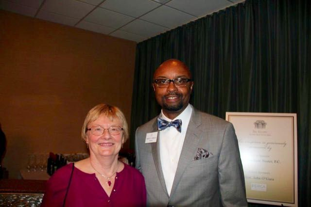 Honoree Lois Wood, Executive Director of the Land of Lincoln Legal Assistance Foundation, with ISBA President Vincent F. Cornelius