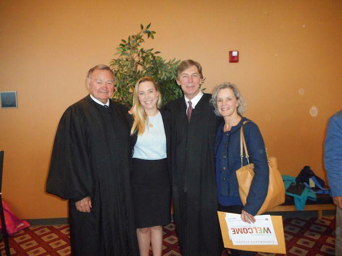Hon. Lloyd Karmeier with Zoe Gross and her parents, Hon. Eugene Gross and Patricia Gross