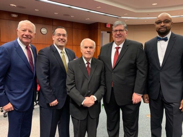 ISBA President David B. Sosin, James J. Laraia, Joseph M. Laraia, ISBA Past President Hon. Richard D. Felice, and ISBA Past President Hon. Vincent F. Cornelius