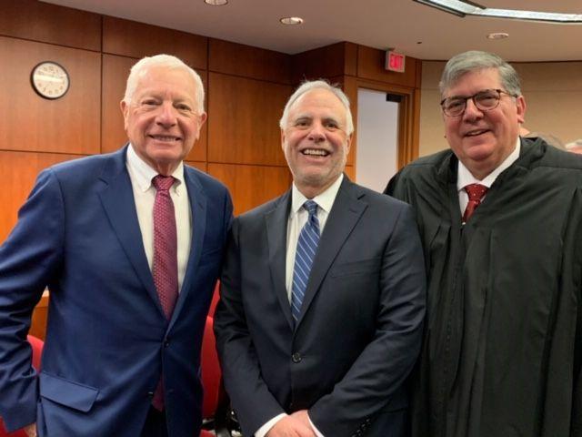 ISBA President David B. Sosin, Illinois Supreme Court Justice Robert R. Thomas, and ISBA Past President Hon. Richard D. Felice