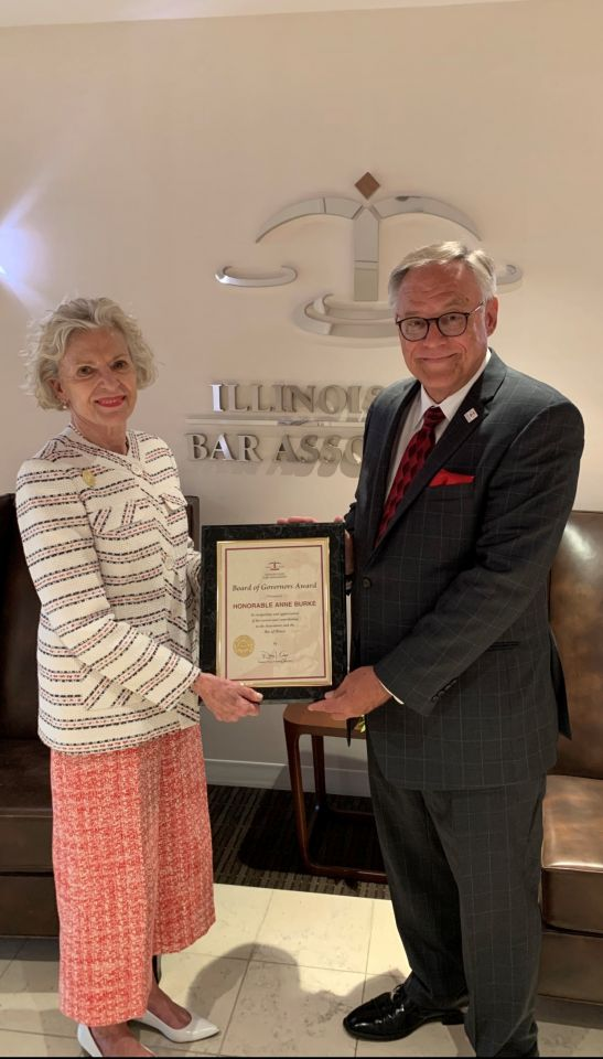 Illinois Supreme Court Chief Justice Anne Burke and ISBA President Dennis Orsey