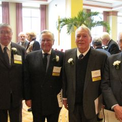 (Click to enlarge) Four Senior Counsellors reunite before the luncheon.